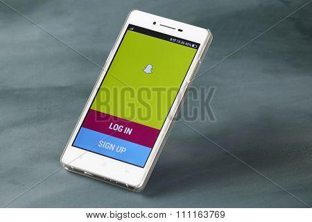 kuala lumpur-malaysia, 16th november 2015,smart phone display with snap chat log in page
