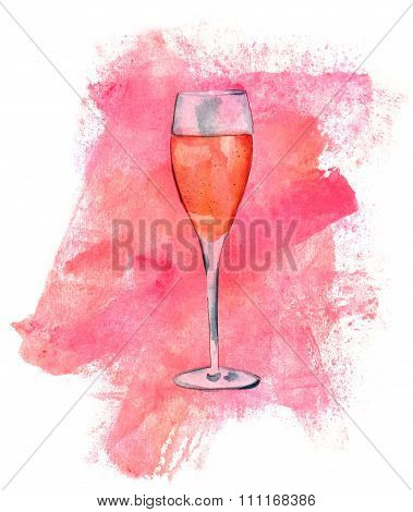 Watercolor Flute Glass Of Sparkling Rose Wine With Texture in the backround