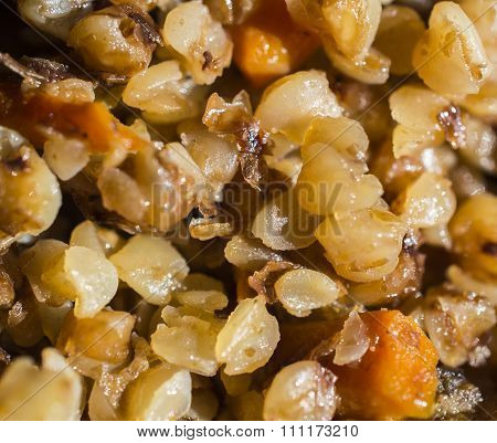 Friable Stewed Hot Buckwheat Cereal Close Up