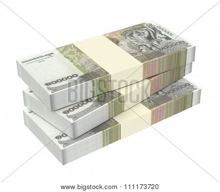 Cambodia riels bills isolated on white background. Computer generated 3D photo rendering.