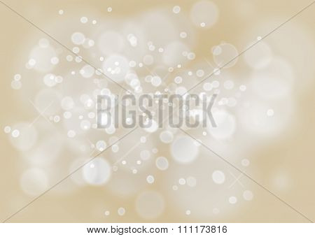 Beautiful Bokeh Background In A Champagne Color And Bubbles Effect. Vector One