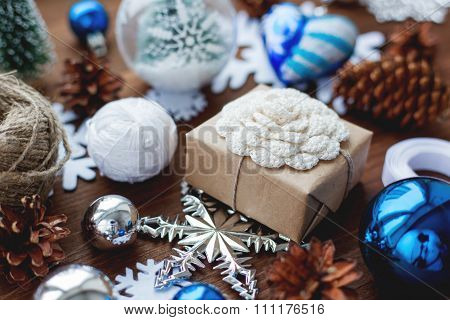 Christmas And New Year Background With Presents, Ribbons, Balls And Different Blue Decorations