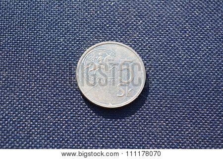 Slovak money - 5 kronas (1993 year)