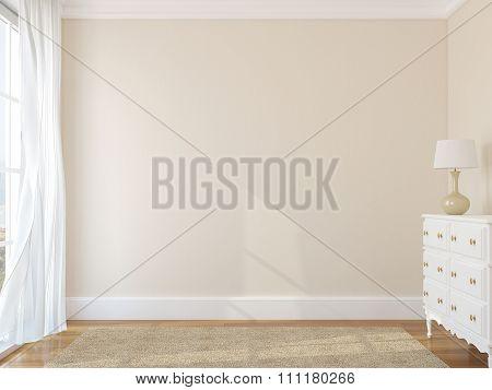 Empty Room 3d rendering.