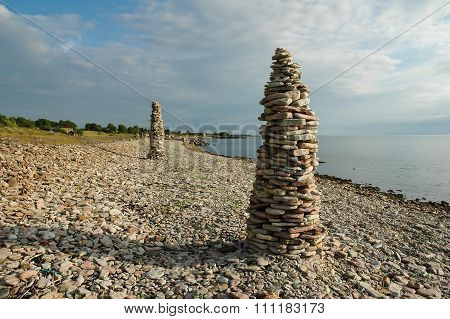 Rock Piles At A Clear Blue Sky By The Coast Of The Swedish Island Oland