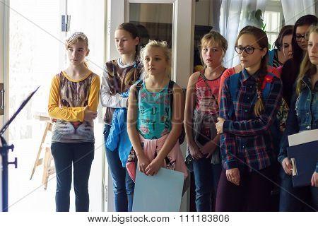 Children listen to guide