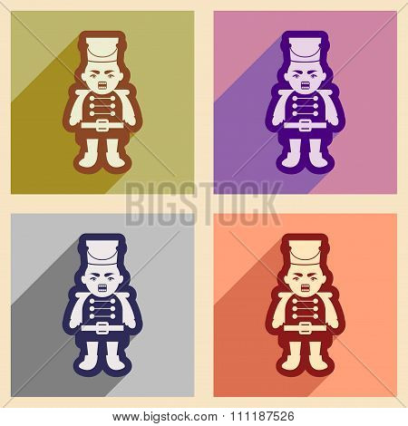 Set flat icons with long shadow Nutcracker boy