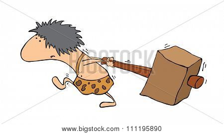 primitive man with a hammer, illustration
