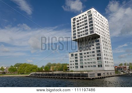 Almere, Netherlands - May 5, 2015: Modern Apartment Building At Weer Water In Almere Stad