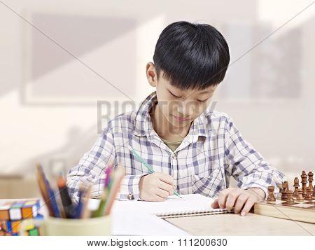 Asian Child Studying