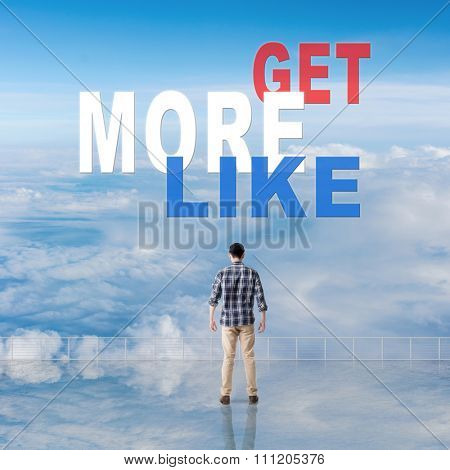 Get More Likes, message on the sky.