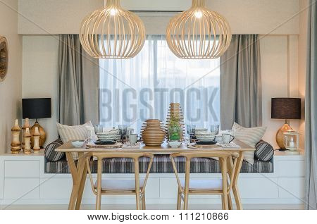 Wooden Table And Chair In Modern Dinning Room
