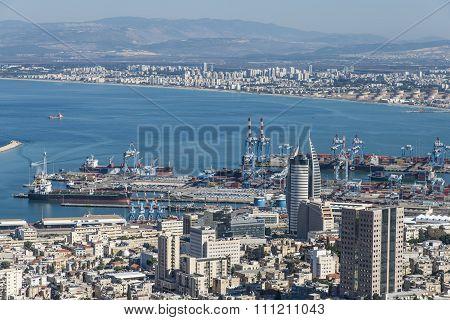 View of Haifa and the Bahai Gardens in Haifa, Israel
