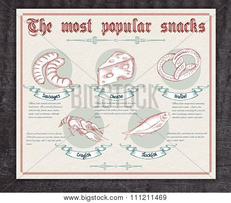 Vector Hand Drawn Vintage  Infographic About The Most Popular Snacks. Contains Sausages, Cheese, Pre