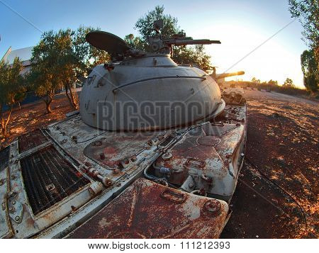 Syrian T-55 Soviet-made After The Fighting With Israel