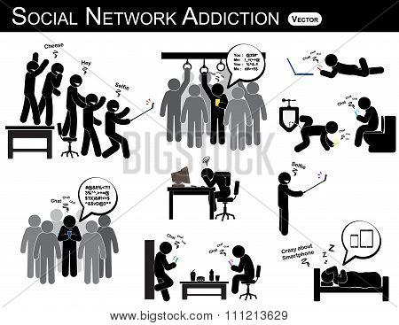 Social Network Addiction . A Man Use Smartphone Every Time , Everywhere
