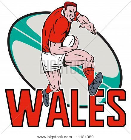 Welsh Wales Rugby player fending