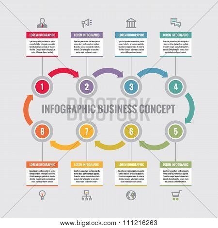 Infographic business concept - creative vector layout with icons. Circles and arrows.