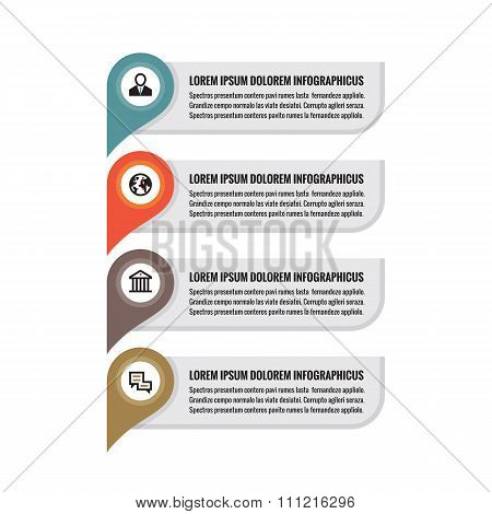 Infographic business concept - colored vertical vector banners. Location information banners.