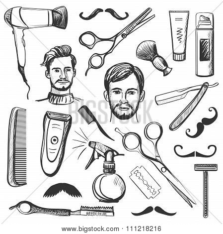 Set of vintage barber shop elements