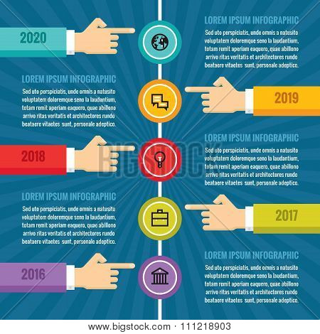 Human hands with vertical timeline - infographic business concept - vector concept illustration.