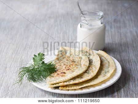 Flat Bread With Herbs, Kutaby, Traditional Azerbaijani Dish