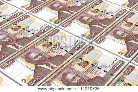 Kenyan shillings bills stacks background. Computer generated 3D photo rendering.