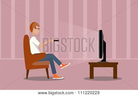 Person Near The Tv Screen A Vector Illustration