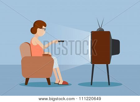 Drawn Caricature The Woman Near The Tv