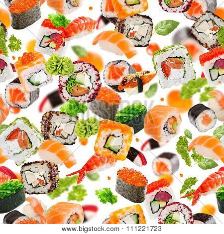 Sushi Seamless Pattern. Colorful Pattern With Different Types Of Sushi And Rolls. Asian Motif.