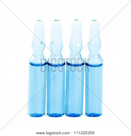 Ampoule with medicine isolated on white background