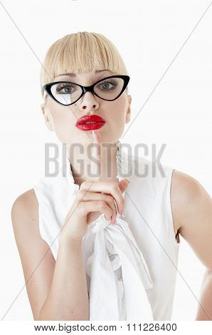 Smart businesswoman making silence sign over white background. poster