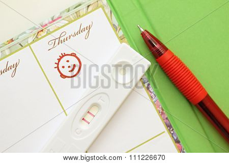 Pregnancy Test With A Positive Result And Female Weekly.