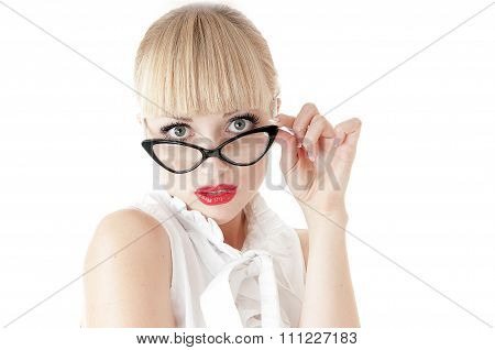 Emotional Portrait Of Pretty Business Woman Surprised Face Expression.