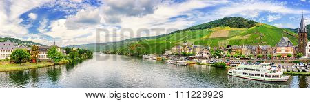 Panoramic Landscape With Vineyards Surrounding The Town Of Bernkastel-kues. Mosel, Germany