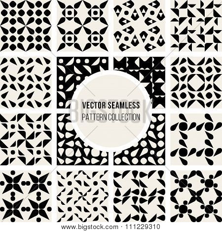 Set of Sixteen Vector Seamless Black And White Rounded Geometric Pattern Collection