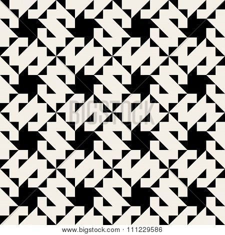 Vector Seamless Black And White Geometric Jagged Triangle  Square Pattern