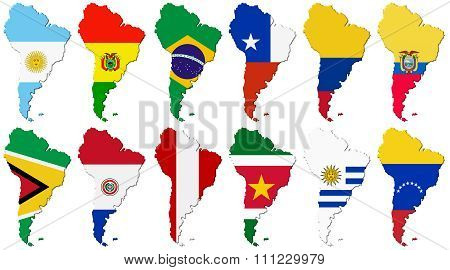 American Set. Flags Of The South America