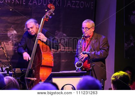 CRACOW POLAND - OCTOBER 30 2015: Boba Jazz Band playing live music at The Cracow Jazz All Souls' Day Festival in Jaszczury Club. Cracow. Poland