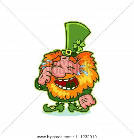 Laughing Leprechaun In Green Costume.