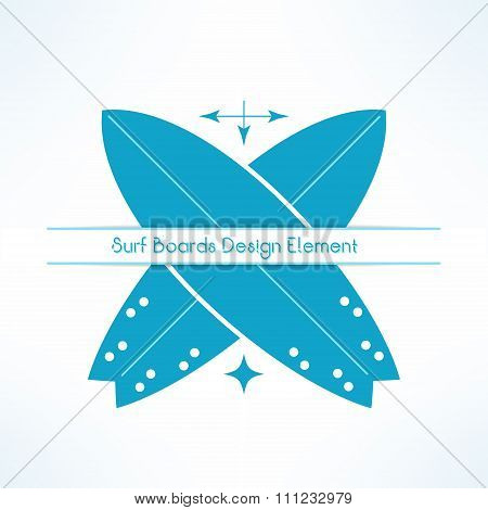 Vector crossed surfing boards with text line. T-shirt print. Surfboards emblem