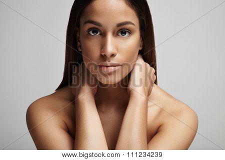 Clean Skin Portrait Of Spanish Woman