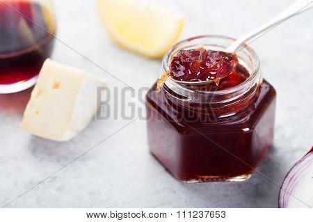 French cuisine Onion confiture, jam with lemon
