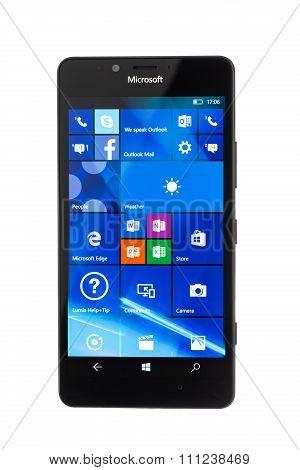 Varna, Bulgaria - December 11, 2015: Cell Phone Model Microsoft Lumia 950 Has 20 Mp Camera, Microsof