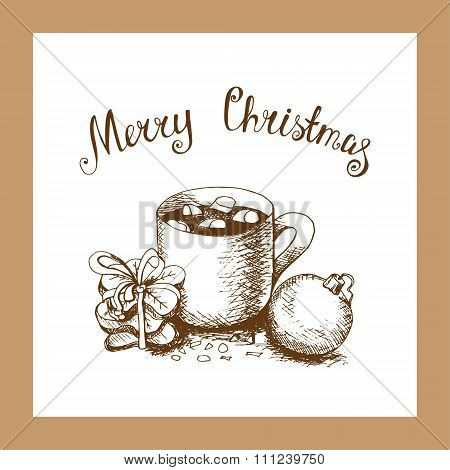 Christmas Card With Sweets In A Sketch Style.