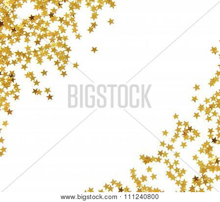 Golden star shaped confetti frame