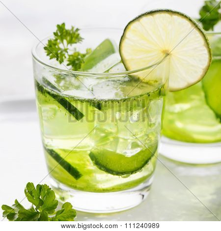 Lime, cucumber, parsley cocktail, detox water