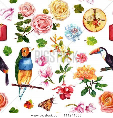 Vintage style seamless background pattern with birds, butterflies and flowers