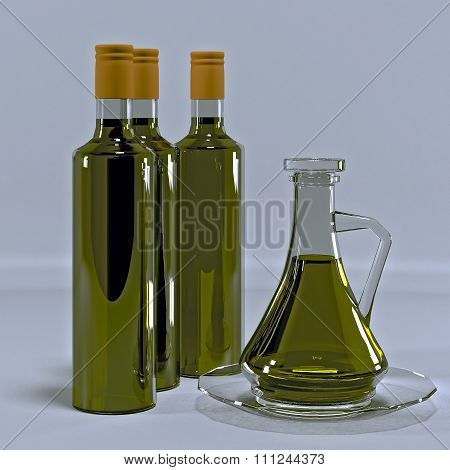 Olive oil in a glass jug on a plate.