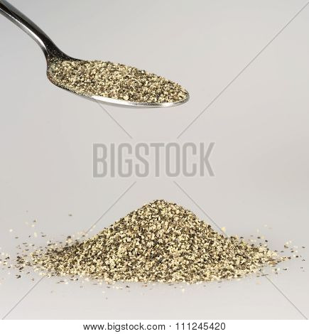 Ground Pepper On Tablespoon